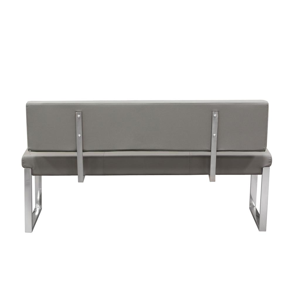 Knox Bench w/ Back & Stainless Steel Frame  - Grey. Picture 4