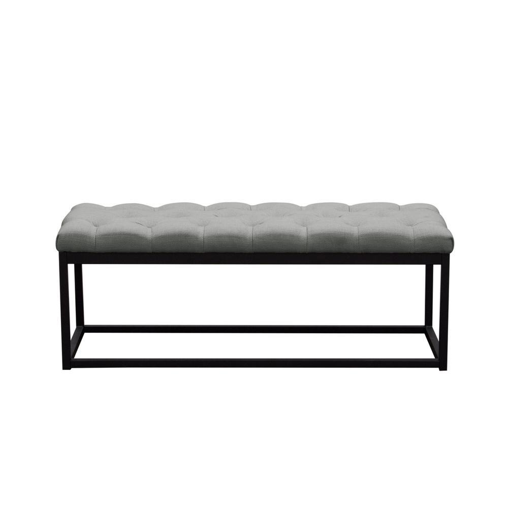Mateo Black Powder Coat Metal Small Linen Tufted Bench Grey