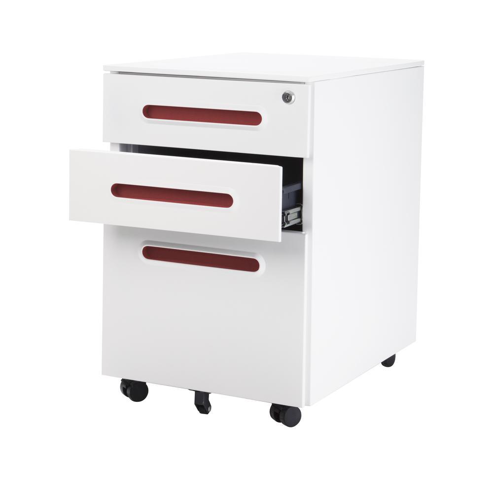 Steel office desk cabinet red - Metal office desk ...