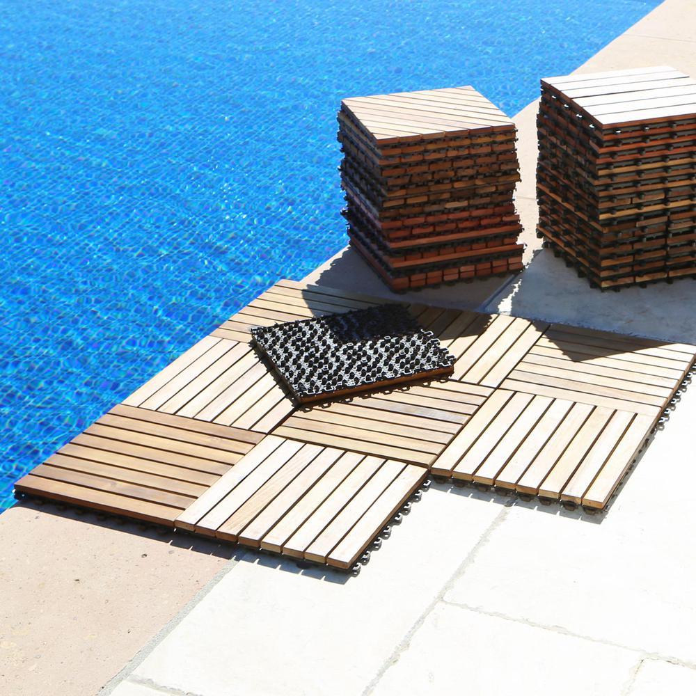 Outdoor Patio 8 Slat Acacia Interlocking Deck Tile Set Of