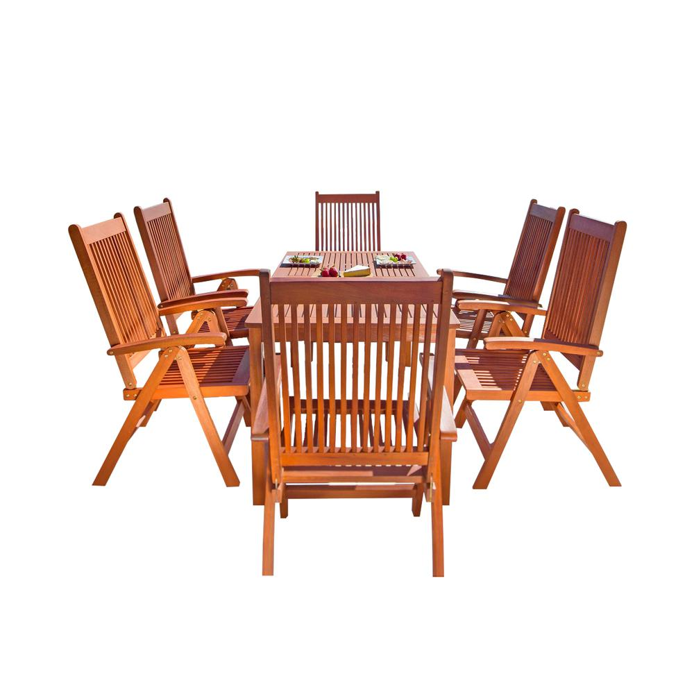 Malibu Outdoor 7 Piece Wood Patio Dining Set With Reclining Chairs