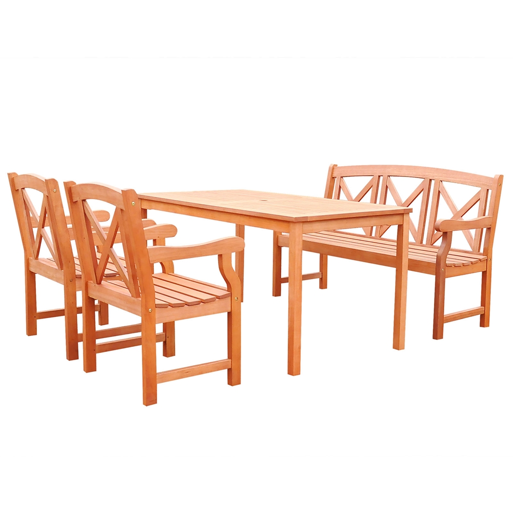 Malibu Wood 4 Piece Outdoor Dining Set With 5 Foot Bench