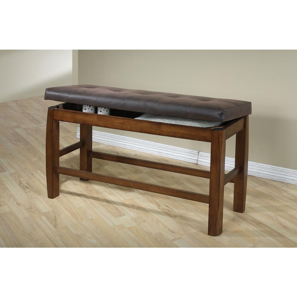 Morrison Counter Height Bench w/Storage, Brown PU & Oak. Picture 1