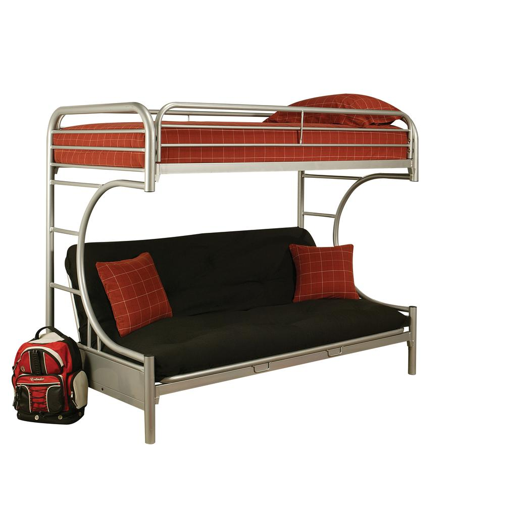 Eclipse Twin XL/Queen/Futon Bunk Bed, Silver. Picture 1