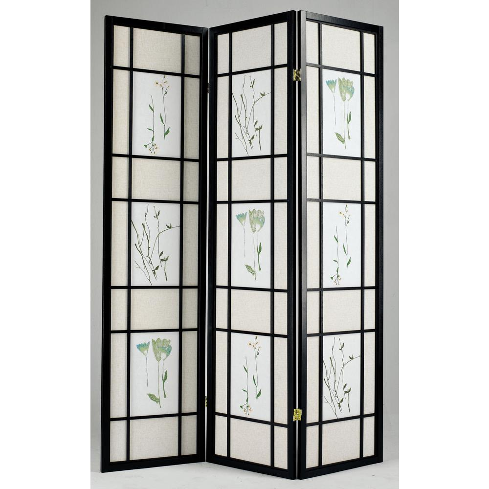 Iola 3-Panel Room Divider, Black. Picture 1