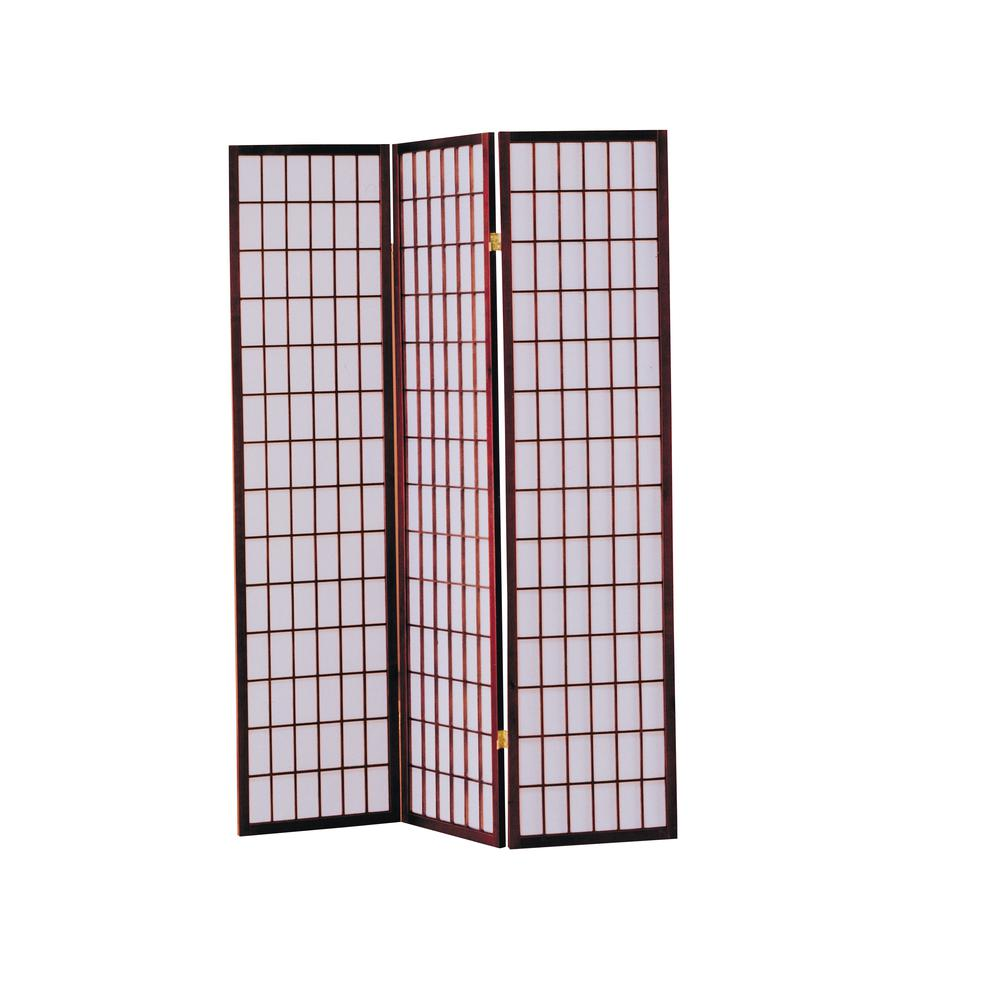Naomi 3-Panel Room Divider, Cherry. Picture 1