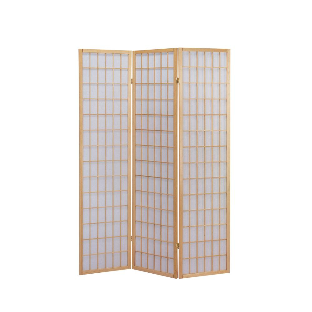 Naomi 3-Panel Room Divider, Cherry. Picture 3