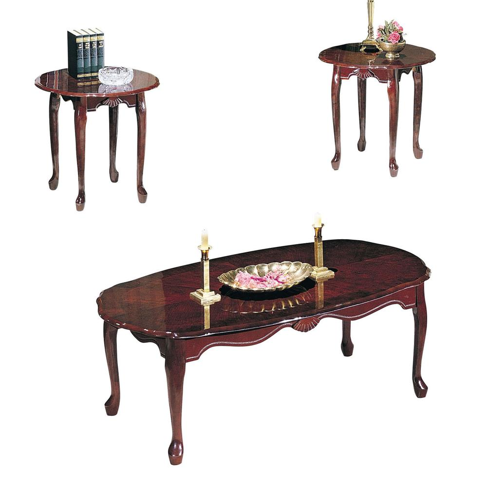 Essex 3Pc Pack Coffee/End Table Set , Cherry. Picture 1