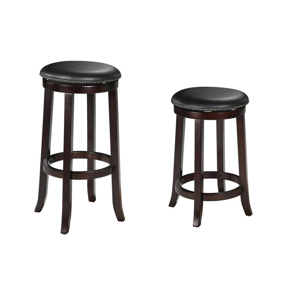 """Chelsea Counter Height Stool w/Swivel (Set-2), PU & Espresso, 24"""" Seat Height. Picture 1"""