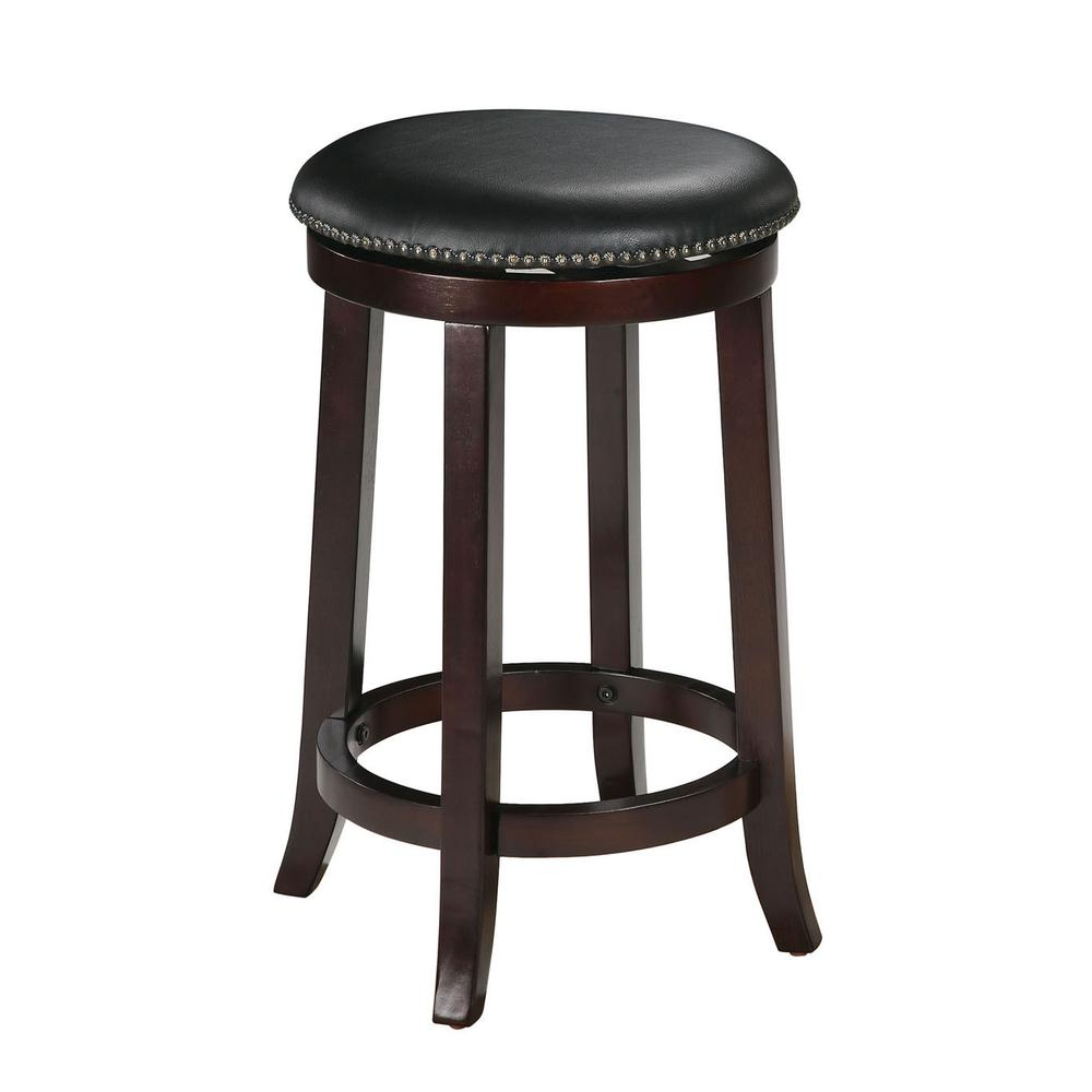 """Chelsea Counter Height Stool w/Swivel (Set-2), PU & Espresso, 24"""" Seat Height. Picture 2"""