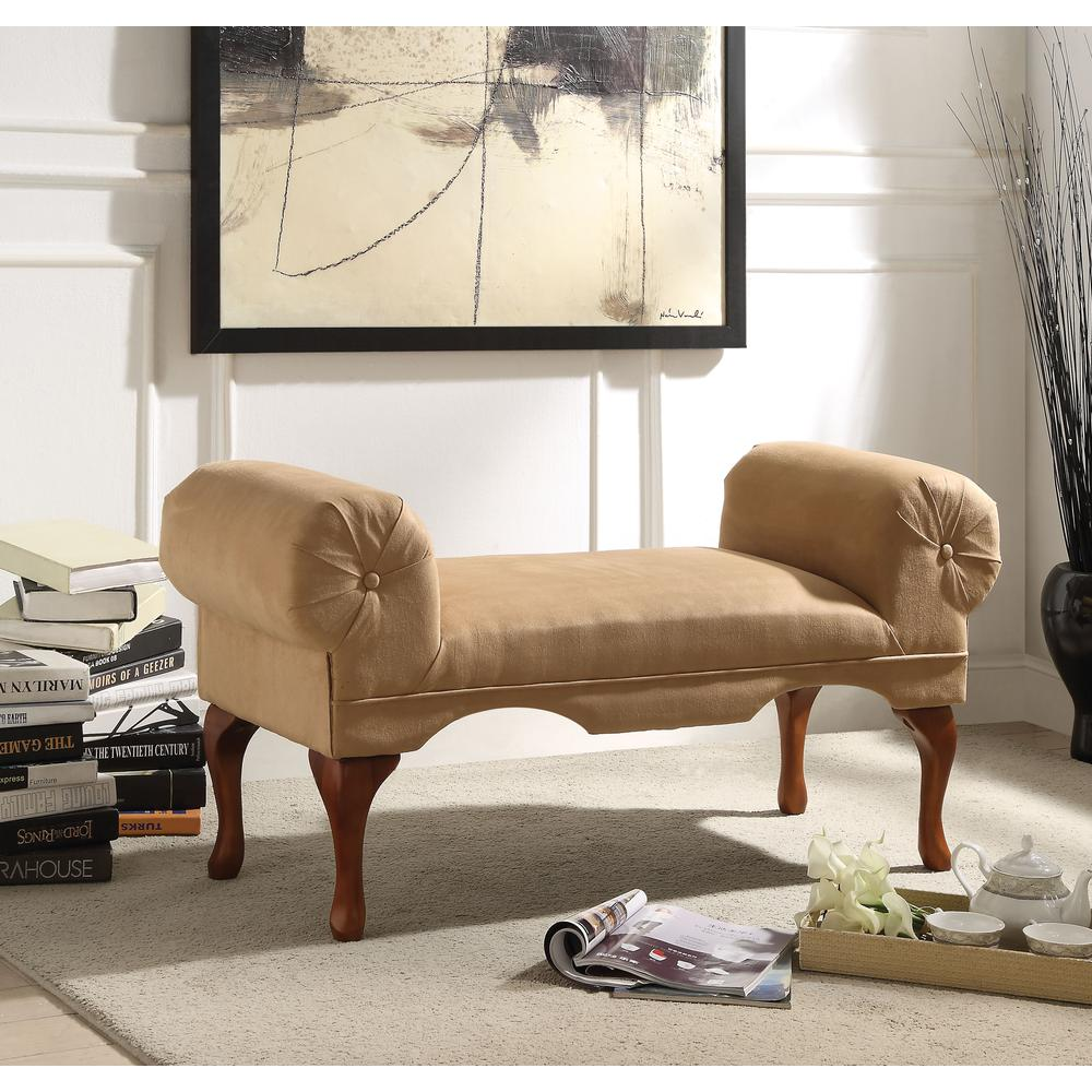 Aston Bench w/Rolled Arm, Beige Mfb. Picture 1