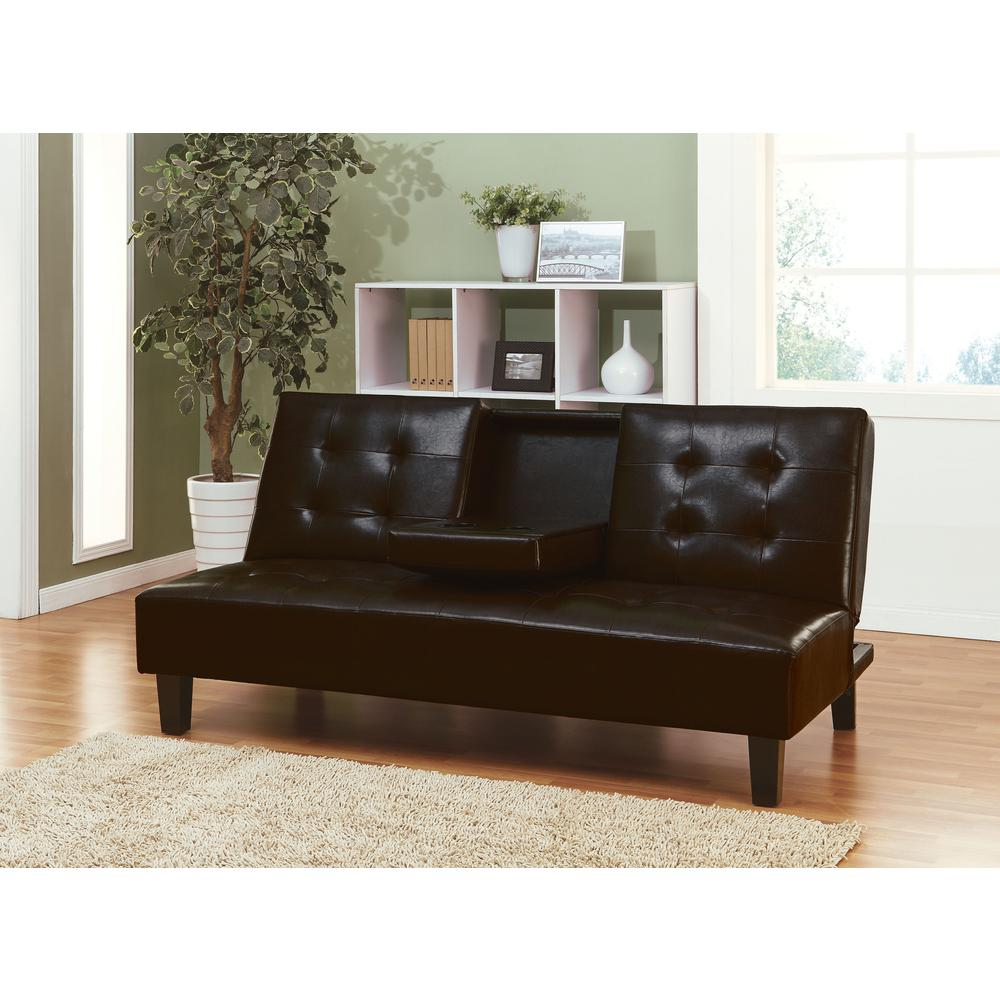 Barron Adjustable Sofa w/Drop Back & Cup Holders, Espresso PU. Picture 2