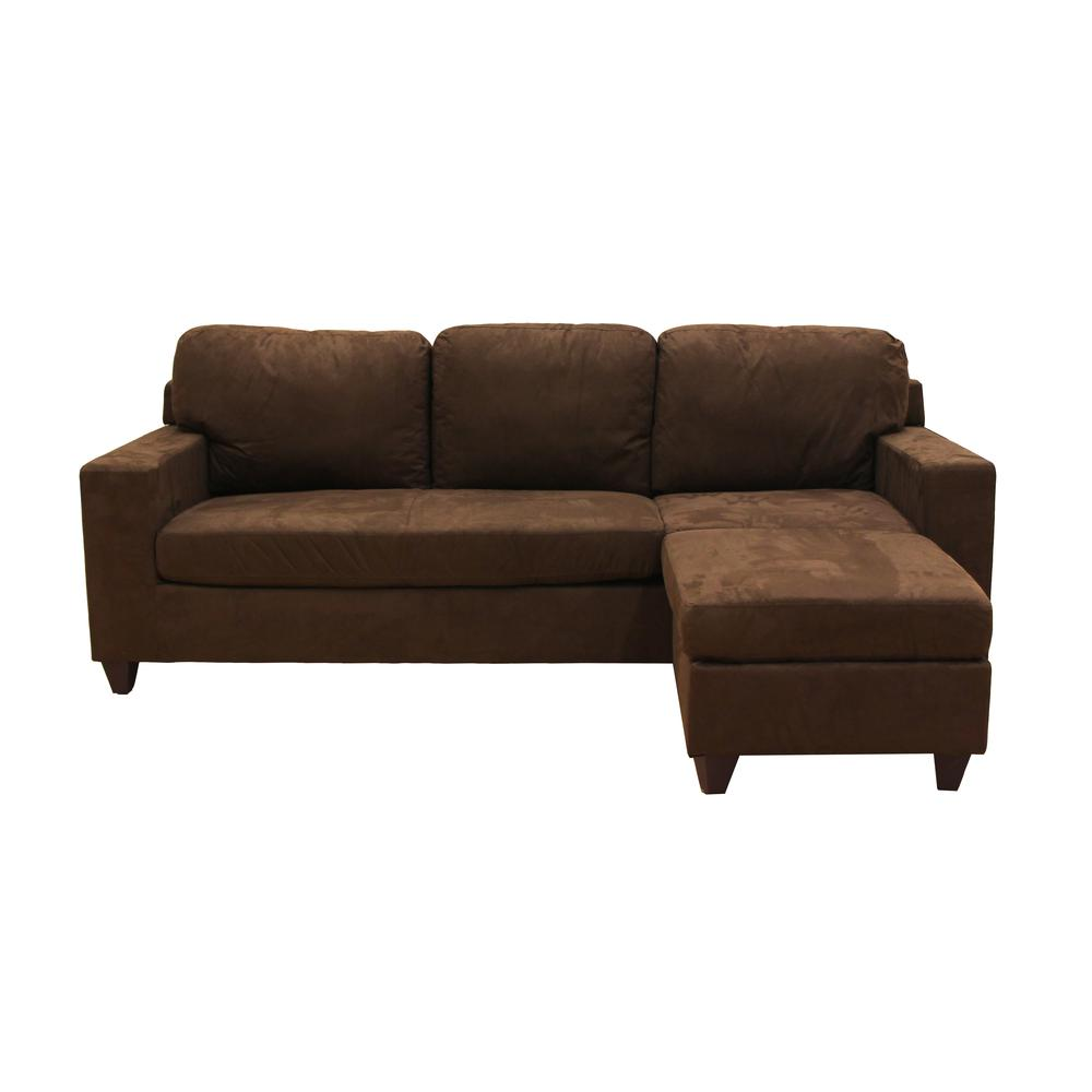 Vogue Sectional Sofa (Reversible Chaise), Chocolate Microfiber. Picture 1