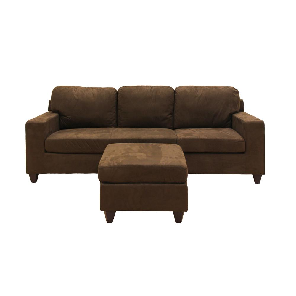 Vogue Sectional Sofa (Reversible Chaise), Chocolate Microfiber. Picture 3
