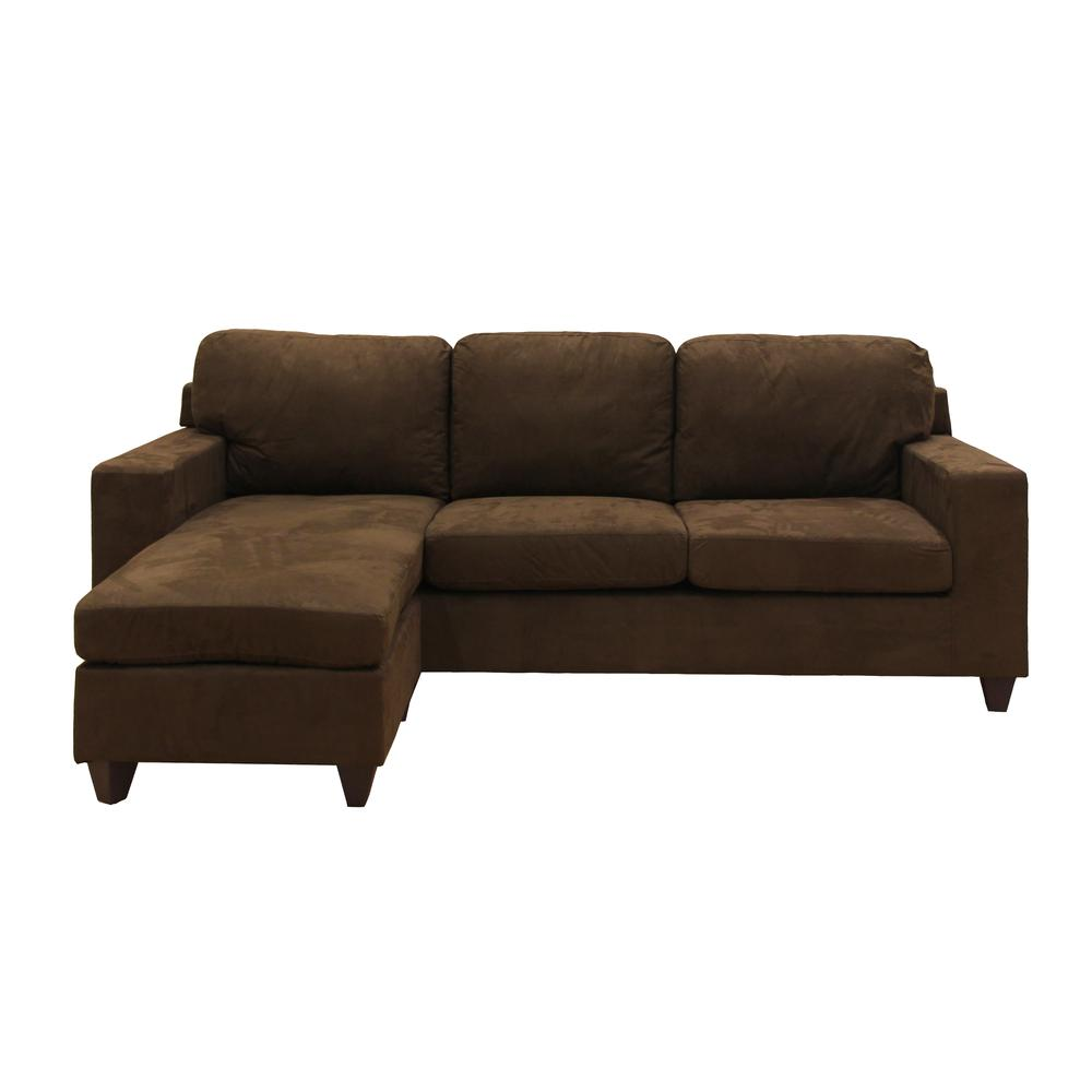 Vogue Sectional Sofa (Reversible Chaise), Chocolate Microfiber. Picture 4