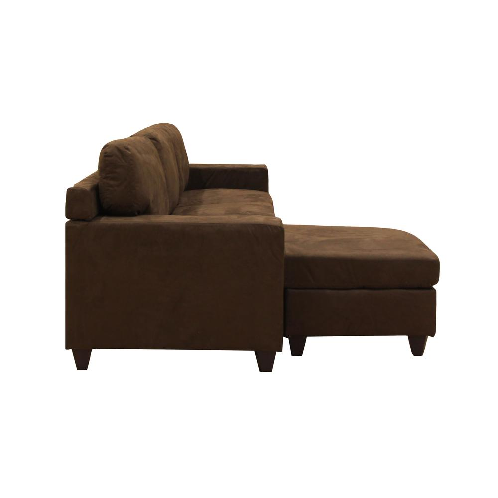 Vogue Sectional Sofa (Reversible Chaise), Chocolate Microfiber. Picture 5