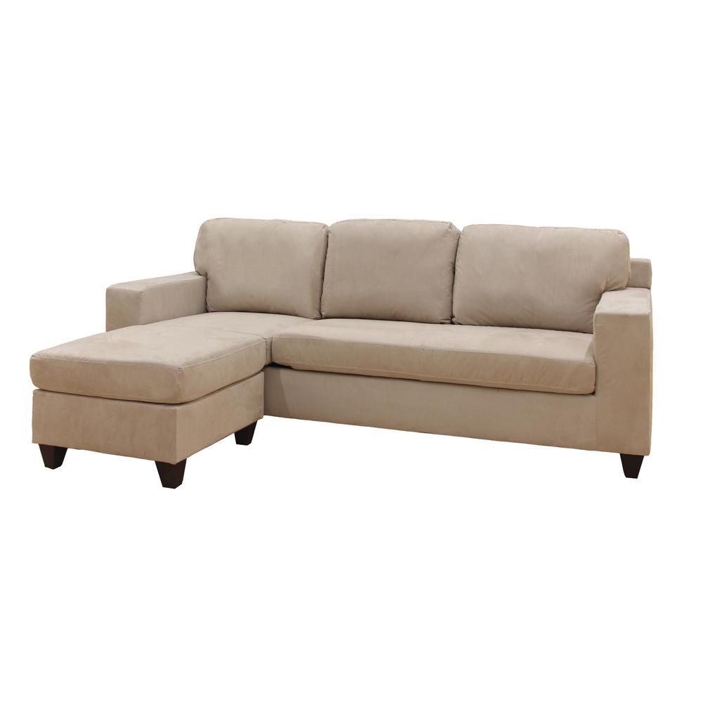 Vogue Sectional Sofa (Reversible Chaise), Chocolate Microfiber. Picture 9