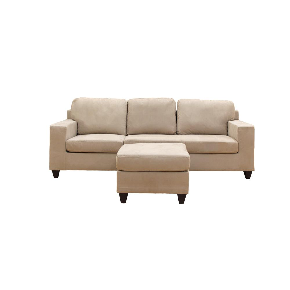 Vogue Sectional Sofa (Reversible Chaise), Chocolate Microfiber. Picture 7
