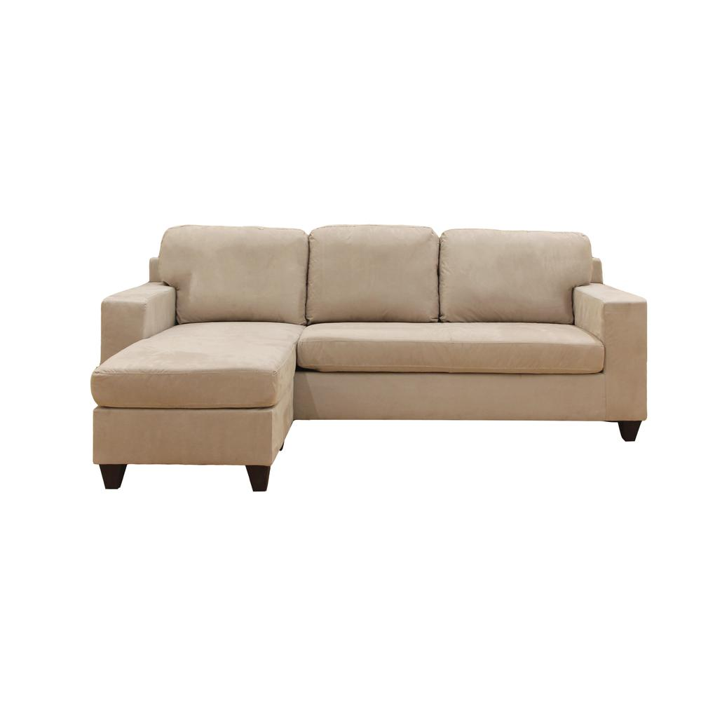 Vogue Sectional Sofa (Reversible Chaise), Chocolate Microfiber. Picture 8