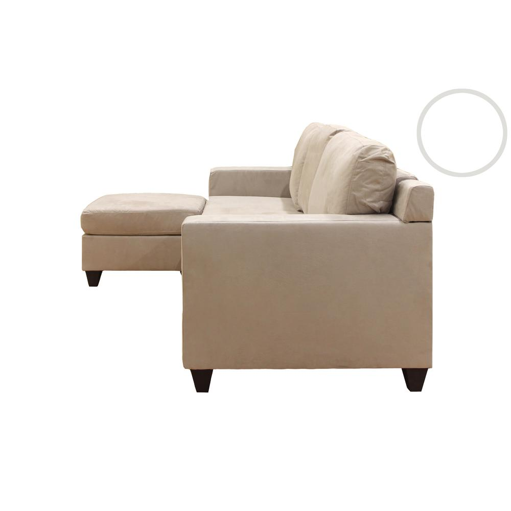 Vogue Sectional Sofa (Reversible Chaise), Chocolate Microfiber. Picture 11