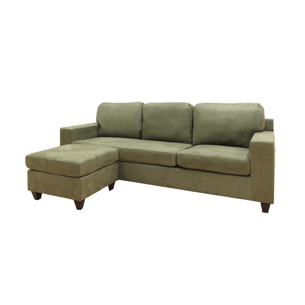 Vogue Sectional Sofa (Reversible Chaise), Chocolate Microfiber. Picture 12