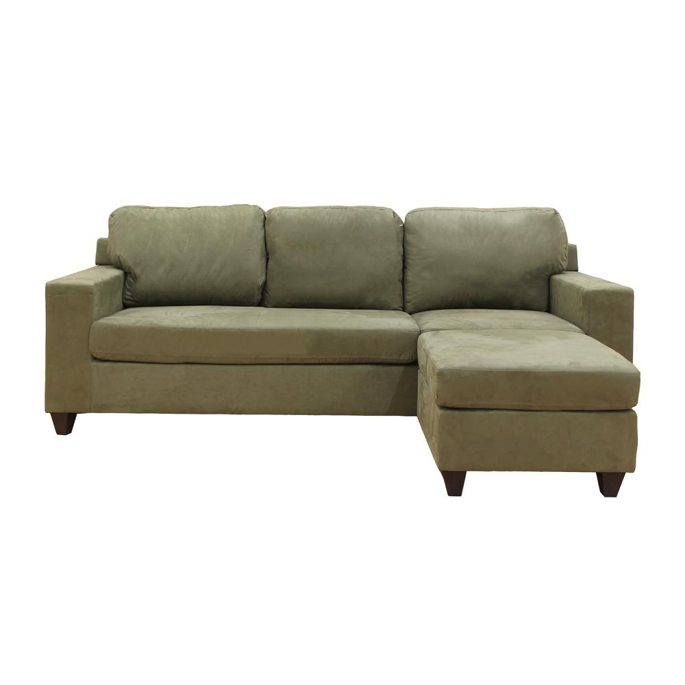 Vogue Sectional Sofa (Reversible Chaise), Chocolate Microfiber. Picture 14