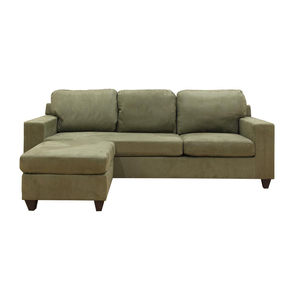 Vogue Sectional Sofa (Reversible Chaise), Chocolate Microfiber. Picture 16