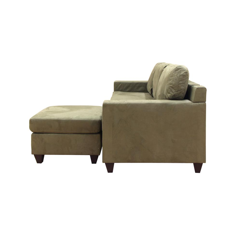 Vogue Sectional Sofa (Reversible Chaise), Chocolate Microfiber. Picture 17