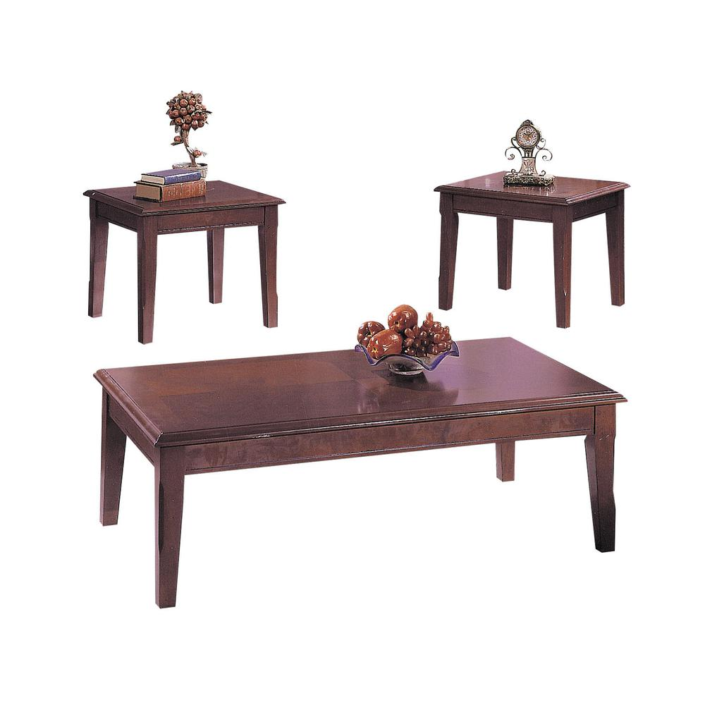 Chester 3Pc Pack Coffee/End Table Set, Merlot. Picture 1