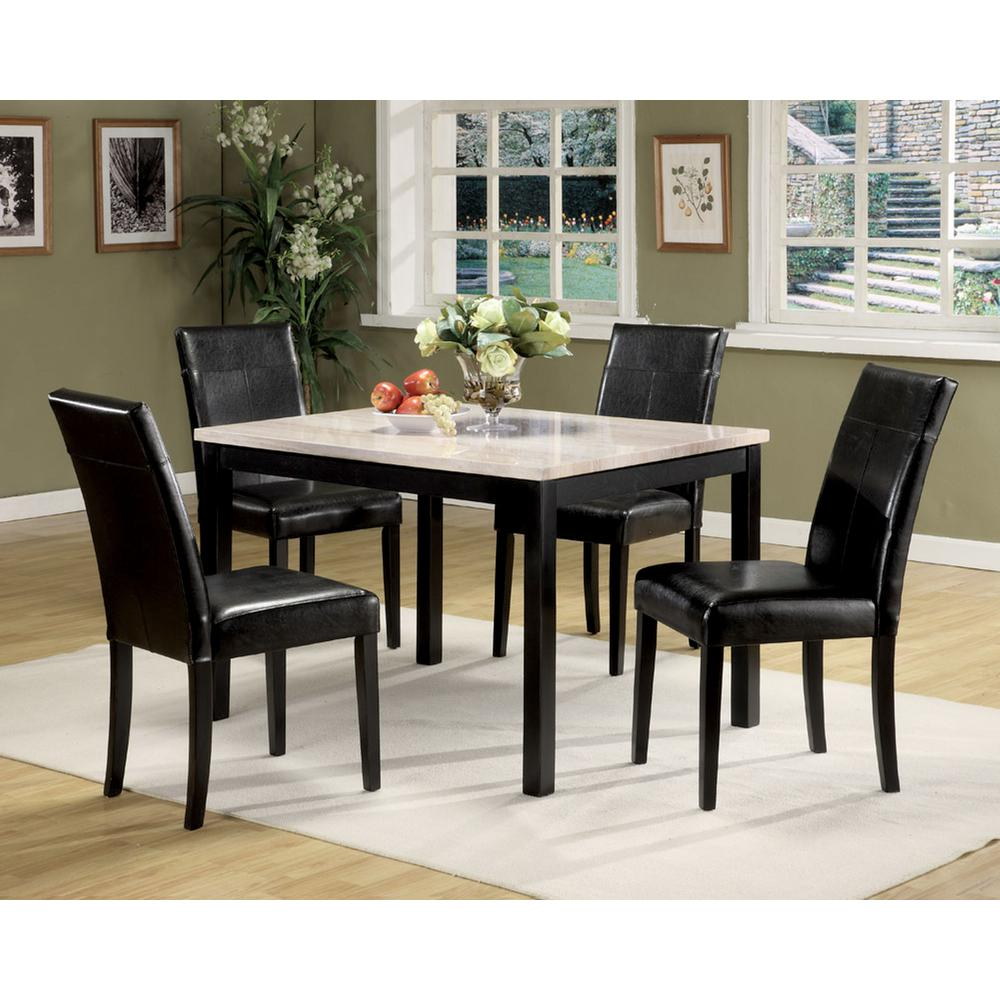 Portland 5Pc Pack Dining Set, White Faux Marble & Black. Picture 1