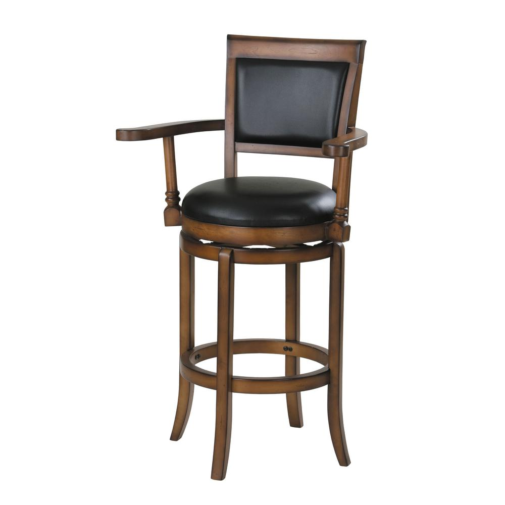 Chelsea Bar Chair with Swivel, Black PU & Oak. Picture 1