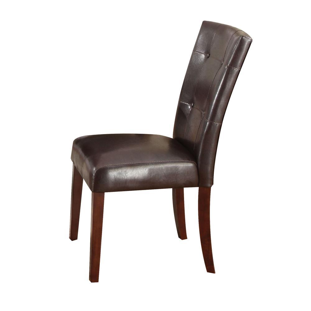 Danville Side Chair (Set-2), Espresso PU & Walnut. Picture 1