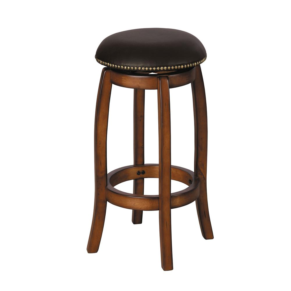 Chelsea Bar Stool with Swivel, Black Leather & Vintage Oak. Picture 1