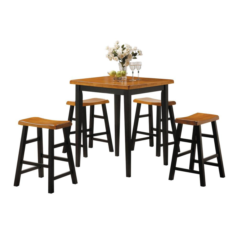 Gaucho 5Pc Pack Counter Height Set, Oak & Black. Picture 1