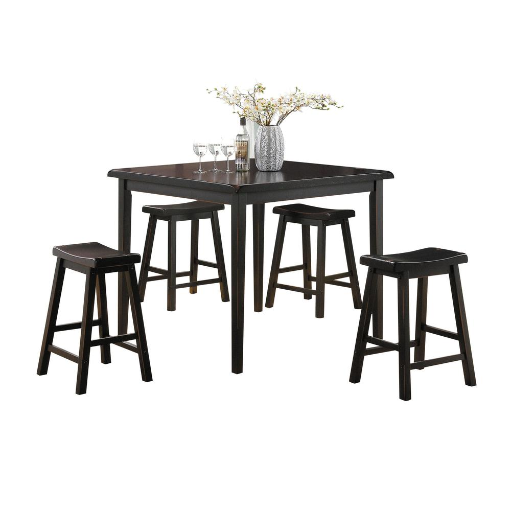 Gaucho 5Pc Pack Counter Height Set, Oak & Black. Picture 2