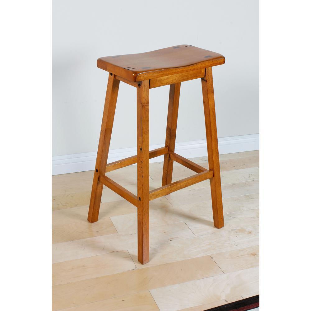 "Gaucho Bar Stool (Set-2), Oak, 29"" Seat Height. Picture 1"