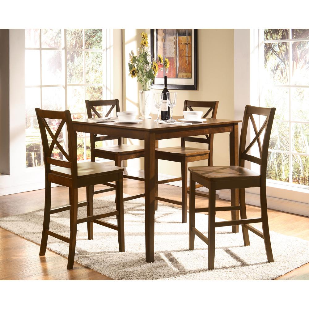 Martha 5Pc Pack Counter Height Set, Country Brown. Picture 1