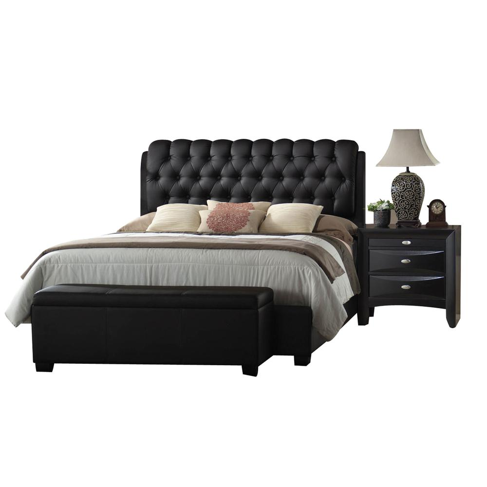 Ireland II Queen Bed (Button Tufted), Black PU (1Set/2Ctn). Picture 1