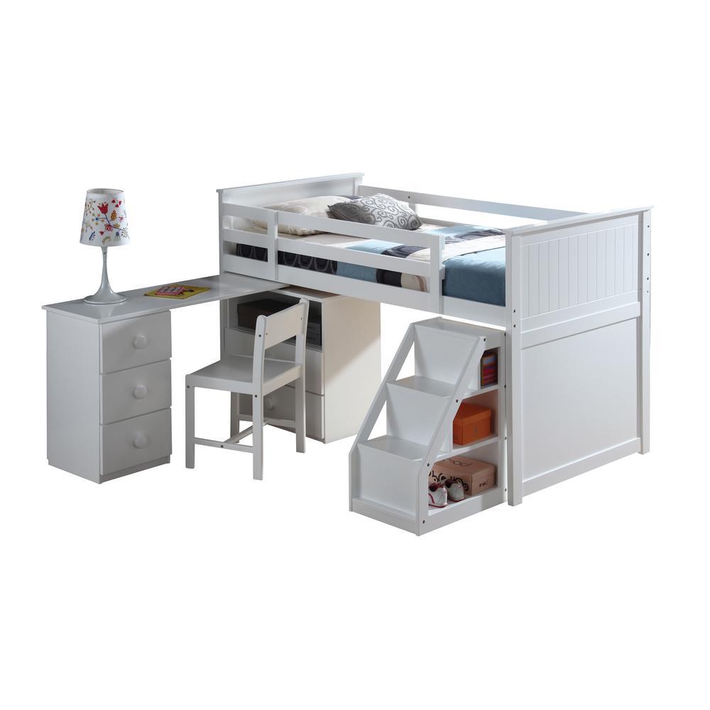 Wyatt Loft Bed, Chest, Desk & Ladder, White (1Set/5Ctn). Picture 1