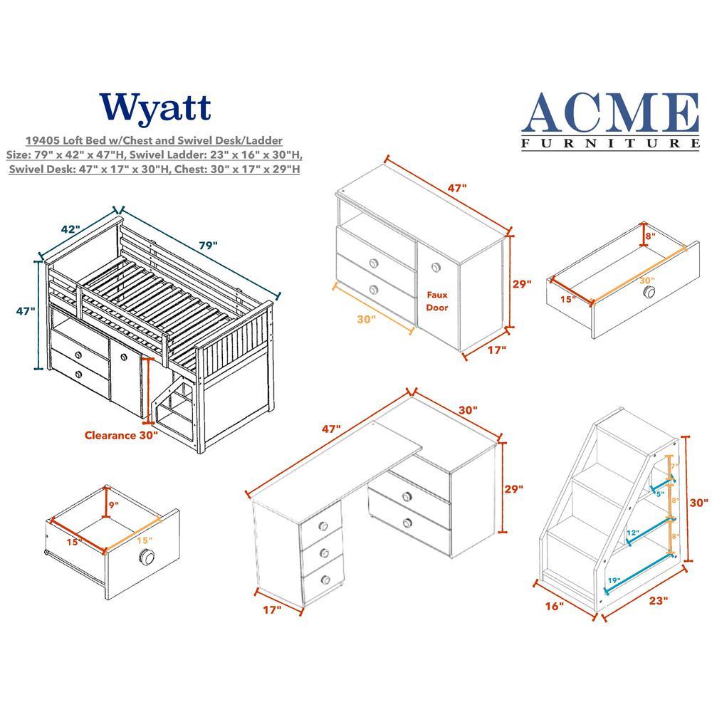 Wyatt Loft Bed, Chest, Desk & Ladder, White (1Set/5Ctn). Picture 3