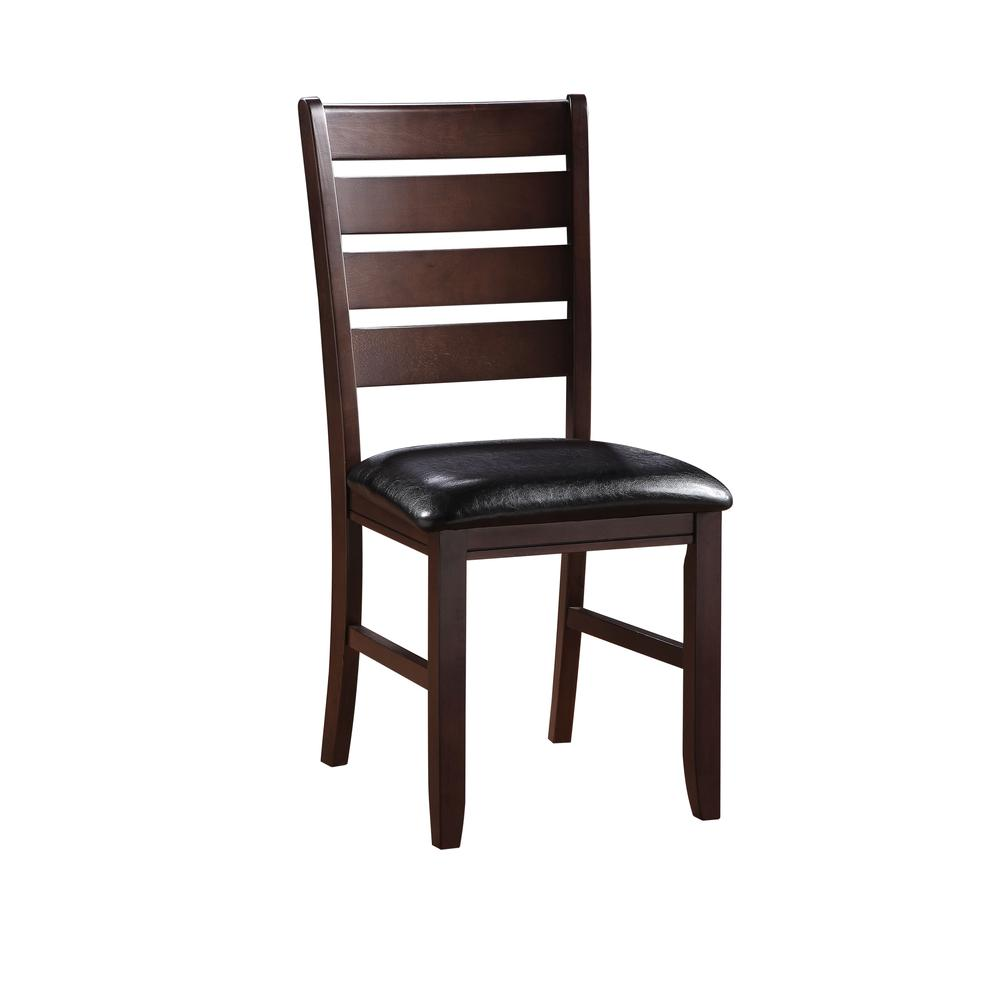 Urbana Side Chair (Set-2), Black PU & Cherry. Picture 1