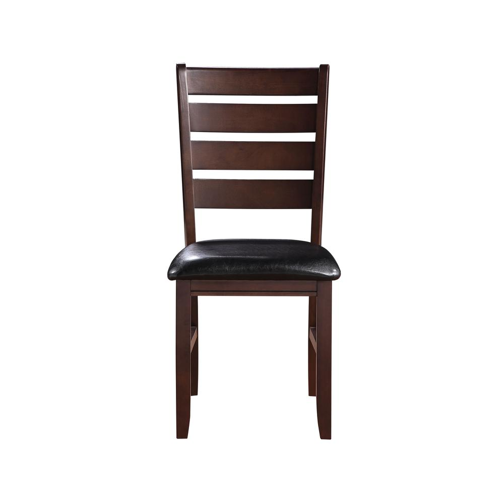 Urbana Side Chair (Set-2), Black PU & Cherry. Picture 4