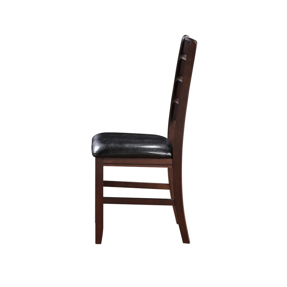 Urbana Side Chair (Set-2), Black PU & Cherry. Picture 5