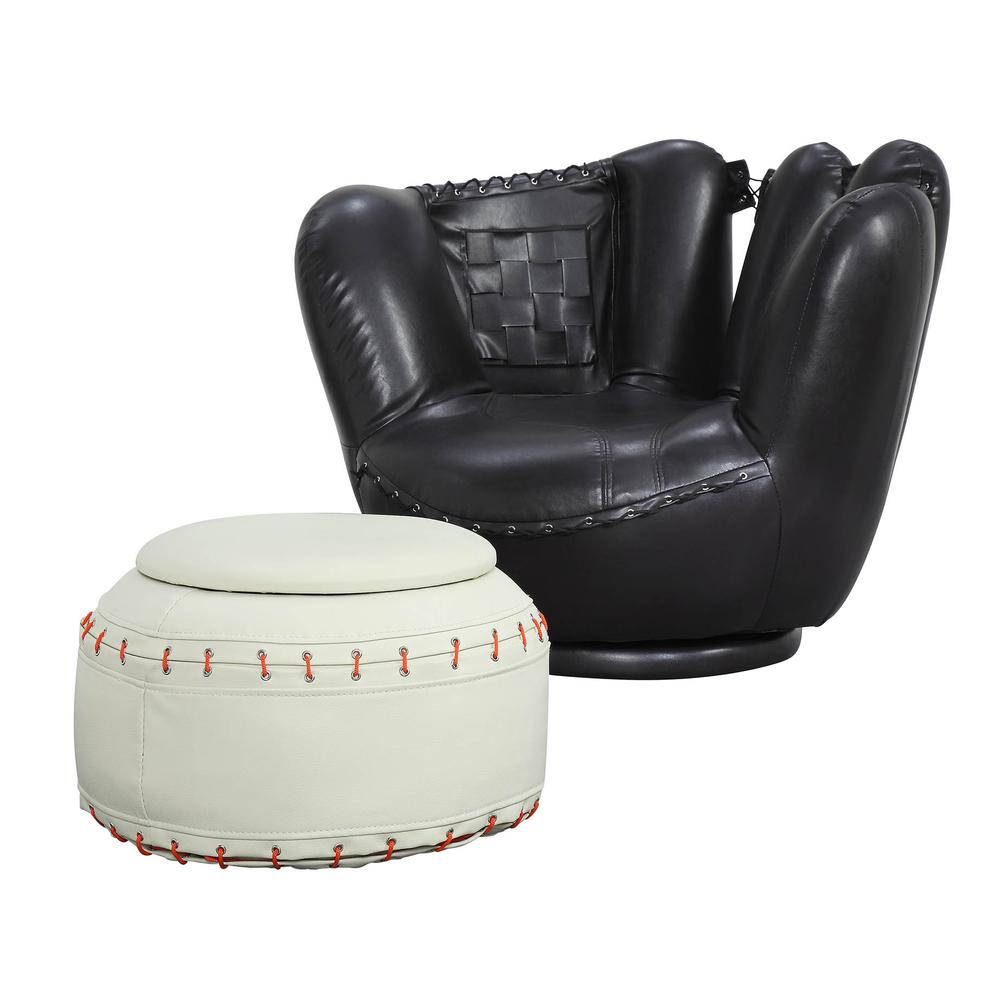 All Star 2Pc Pack Chair & Ottoman, Football: Brown & White. Picture 1