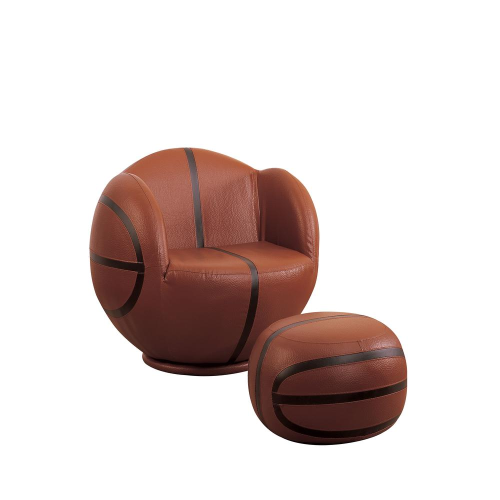All Star 2Pc Pack Chair & Ottoman, Football: Brown & White. Picture 13