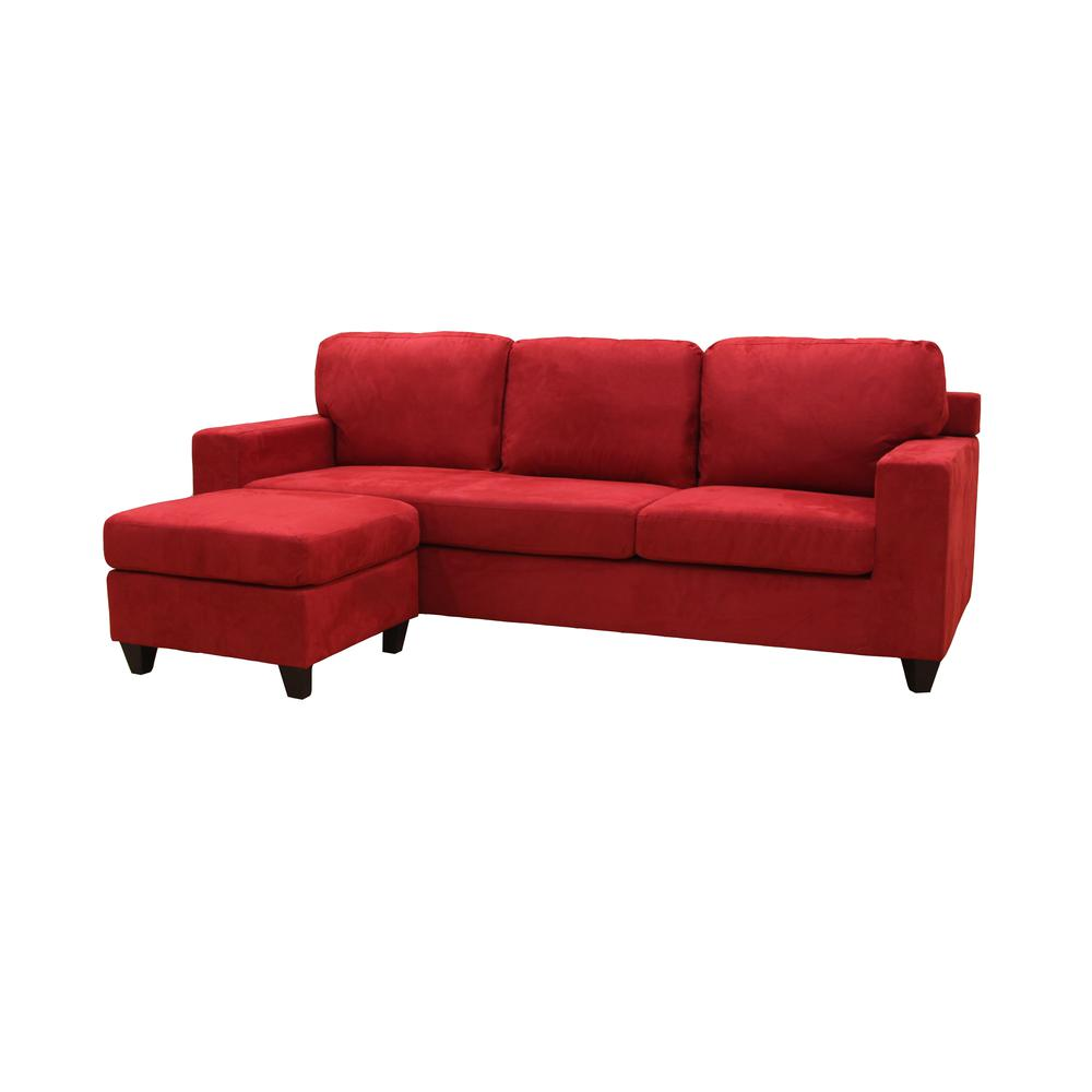 Vogue Sectional Sofa (Reversible Chaise), Red Microfiber. Picture 18