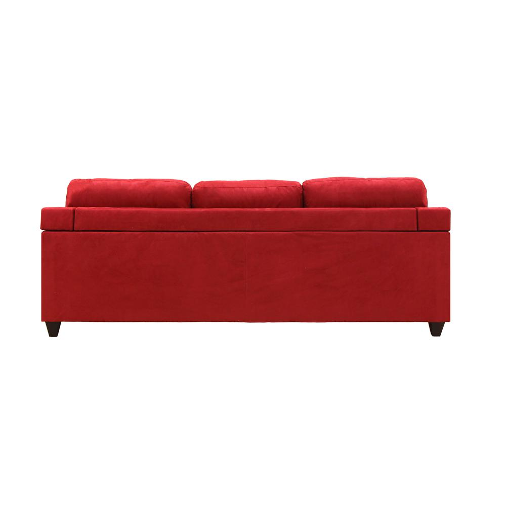 Vogue Sectional Sofa (Reversible Chaise), Red Microfiber. Picture 19