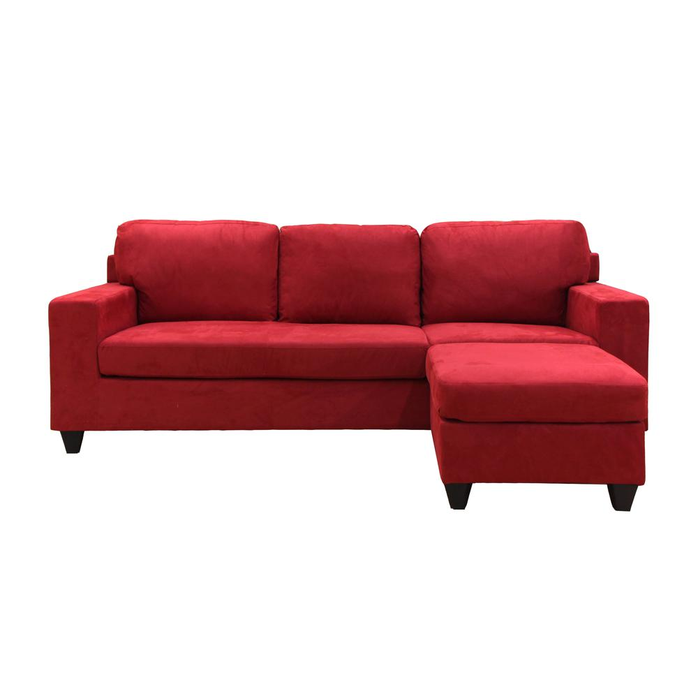 Vogue Sectional Sofa (Reversible Chaise), Red Microfiber. Picture 20