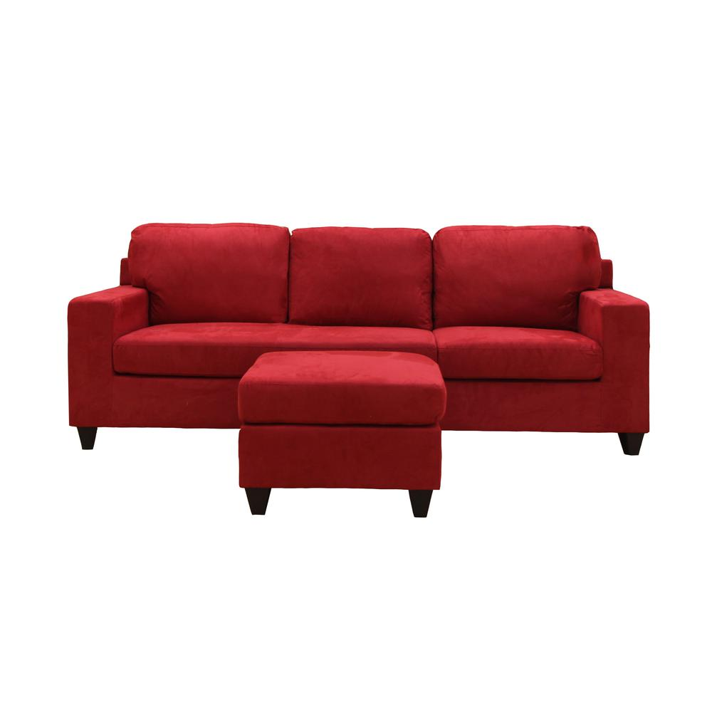 Vogue Sectional Sofa (Reversible Chaise), Red Microfiber. Picture 21