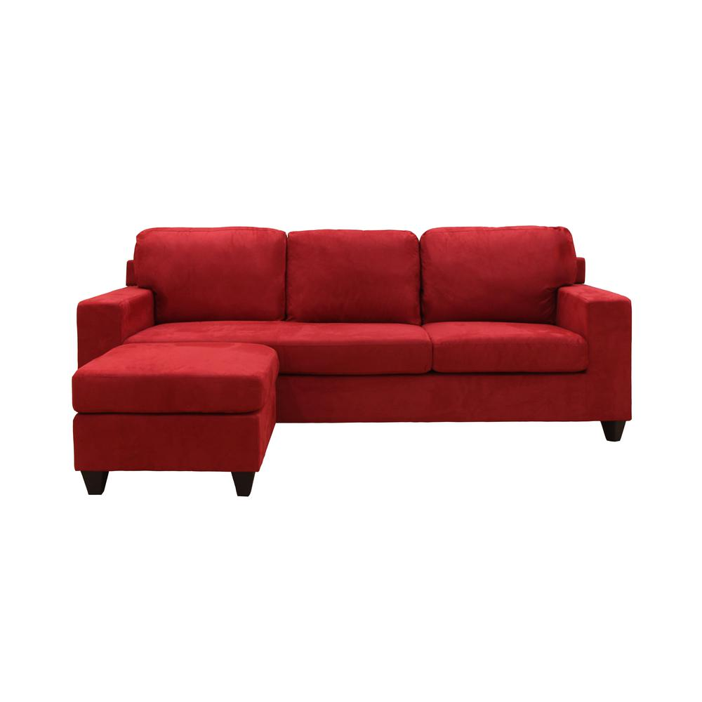 Vogue Sectional Sofa (Reversible Chaise), Red Microfiber. Picture 22